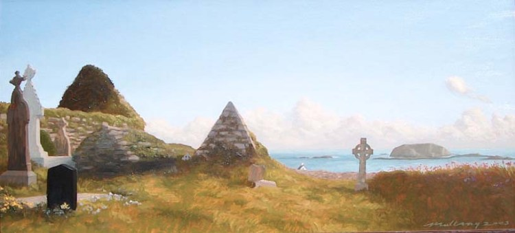 This painting based on a client's travels in Ireland captures a wonderful view from a church on the southern coast.
