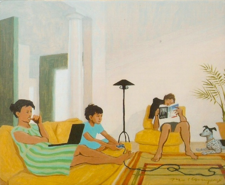 Not a traditional posed family portrait, but a more contemporary looking painting that captures a more casual family moment