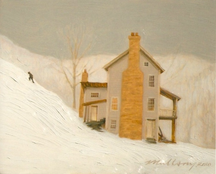 A beautiful image of a house in the newly fallen now, a house portrait does not always have to be an architectural rendering of the building but can depict more intimately time spent there.
