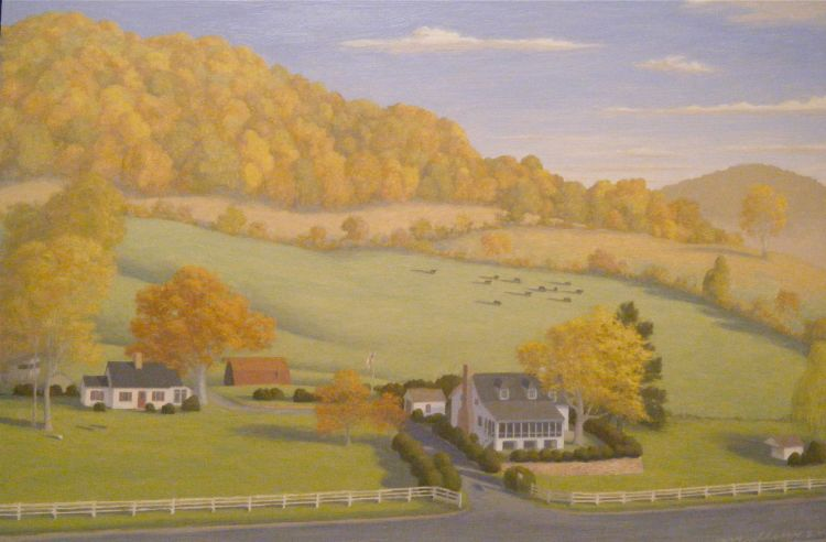 Family property- this painting captures a scene from across the road and encompasses the view of the mountain behind.