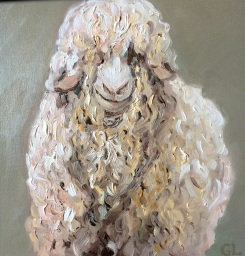 """"""" I See You-Angora Goat"""" oil on wood by Gaylene Laimbeer $325"""