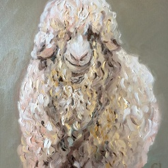 """ I See You-Angora Goat"" oil on wood by Gaylene Laimbeer $325"