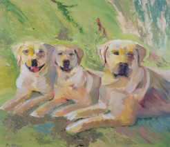 """""""Andy and Siblings"""" oil on wood by Fred Howe, $250"""
