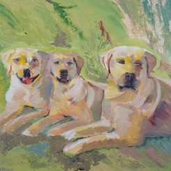 """Andy and Siblings"" oil on wood by Fred Howe, $250"