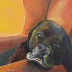 """ Boomer in Repose"" oil on wood by Fred Howe, $175"