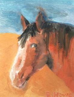 """"""" Sunset Horse"""" oil on wood, by Fred Howe $35"""