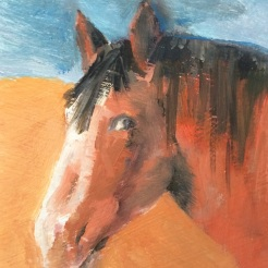 """ Sunset Horse"" oil on wood, by Fred Howe $35"