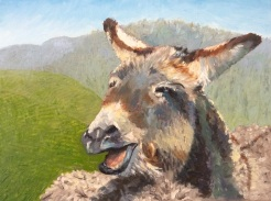 """"""" Do These Mountains Make My Ass Look Big"""" oil on canvas by Candace Clough $225"""