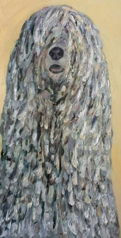 """ I See You-Komondor ( aka Rufus) oil on wood by Gaylene Laimbeer $500"