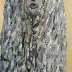 """ I See You-Komondor ( aka Rufus) oil on wood by Gaylene Laimbeer $500"