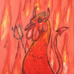 """Chicken Devil"" oil on canvas by Stan Kayes"