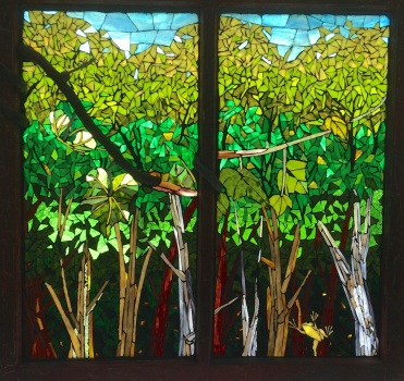 """""""Where We Meet"""" mosaic Glass on glass, by Candace Clough $1200."""